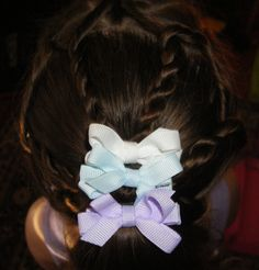 Back view, rope braids and bows (Easter hairstyle)