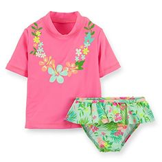 CARTER/'S® Baby Girls/' 12M Neon Orange Long Sleeve Rashguard Swim Set NWT