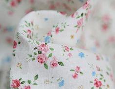 A Yard of Petit Rose Linen White 140cm WIDE, U1448. $13.90, via Etsy.