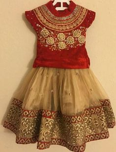 71 red silk lehenga with flower applique and sequin sleeves 48 Baby Girl Dress Patterns, Baby Dress Design, Frock Design, Kids Indian Wear, Kids Ethnic Wear, Kids Dress Wear, Kids Gown, Kids Wear, Frocks For Girls