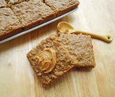 'Healthy, quick breakfast: Peanut Butter Banana and oatmeal squares. // These are awesome! A pan doesnt last 2 days in our house. Theyre delicious and super good for you, especially if you substitute applesauce for the brown sugar--one bar is 128 calories and 5 grams of protein. Perfect breakfast with a glass of cold milk. YUM! Awesome toddler food, too'