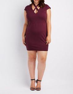 Charlotte Russe Plus Size Crisscross-Front Bodycon Dress