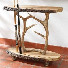 Log & Antler Pool Cue Holder | King Ranch Would be cute to turn into a fishing pole holder