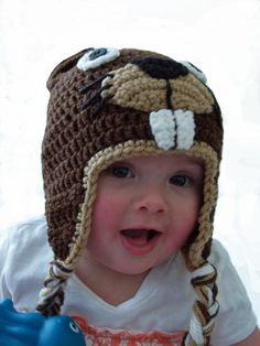 to preteen sizes)Crochet beaver hat mos. to preteen sizes) Crochet Hat With Brim, Crochet Hats For Boys, Crochet Beanie, Crochet Baby, Beaver Hat, Baby Beaver, Crochet Animal Hats, Wood Badge, Crochet Hood