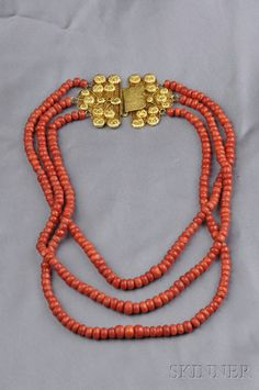 Coral Three-strand Bead Necklace