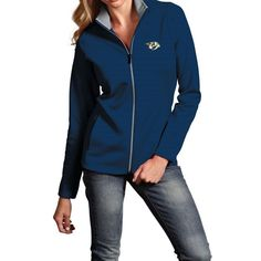 Women s Nashville Predators Leader Full Zip Pullover (Navy Grey) Predators  Hockey 706906311
