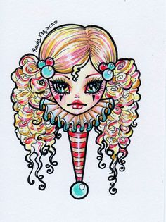 original drawing from Rudy Fig, HEX Girl illustration on Paper, circus doll, doll face. $100.00, via Etsy.