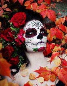 red sugar skull makeup