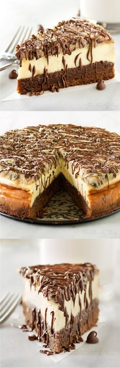 BROWNIE BOTTOM COOKIE DOUGH CHEESECAKE - cheesecake, chocolate, dessert