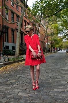 Total red outfit.