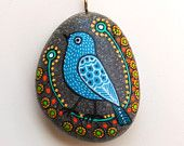 Hand Painted Stone Bird Pendant