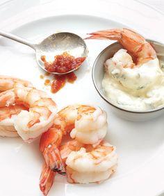 Appetizer: Shrimp With Tarragon Aïoli   Get the recipe: http://www.realsimple.com/food-recipes/browse-all-recipes/shrimp-tarragon-aioli-00000000044917/index.html