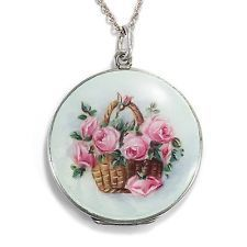Around 1900: Antique Guilloche Email Photo MEDALLION PENDANT, Art Nouveau Rose Locket