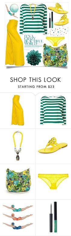 """Green & Yellow"" by menina-ana ❤ liked on Polyvore featuring MaxMara, Moncler, Miss Julie, Tory Burch, Vera Bradley, STELLA McCARTNEY and Retrò"