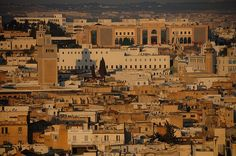 The Zaytouna (Great Mosque) and Tunis Medina at sunrise (taken from the Hotel Africa), Tunis, Tunisia by iancowe, via Flickr