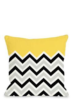 Chevron Solid Black/White/Yellow Pillow with Zipper on HauteLook