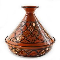 Le Souk Ceramique CT-MIEL-30 Cookable Tagine, 12-Inch, Honey Glaze/Honeycomb