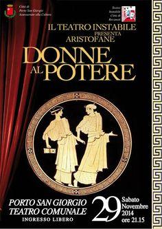 """""""Donne al potere"""", Aristofane al teatro comunale di Porto San Giorgio #marcafermana #portosangiorgio #fermo #marche"""