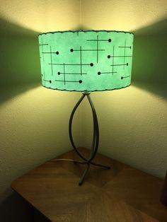 Mid Century Vintage Style Fiberglass Lamp Shade Modern Atomic Sea Foam