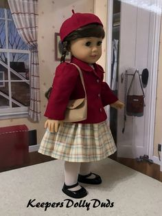 School Days for Molly, Original Designs by KeepersDollyDuds American Doll Clothes, Ag Doll Clothes, 1940s Dresses, School Days, Doll Patterns, Girl Dolls, American Girl, Girl Outfits, Couture