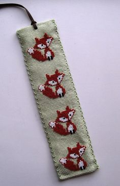 Cross Stitched Kawaii Brown Foxes Bookmark by TillyandMuffinToo, £6.00