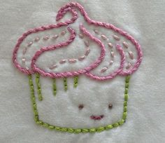 "I stitched this pattern by Wild Olive and when I finished I thought it looked like Spring. This one, duh, is ""Spring"". Hand Embroidery Videos, Baby Embroidery, Simple Embroidery, Hand Embroidery Patterns, Vintage Embroidery, Embroidery Applique, Cross Stitch Embroidery, Machine Embroidery, Spring Cupcakes"