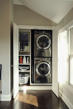 Laundry closet for smaller spaces?  Add coat closet & bench for combo mud/laundry room