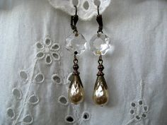 Victorian Bridal Earrings Chandelier Crystal Prism and by Grioza