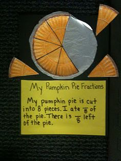 Use this to teach fractions at thanksgiving--use small paper plate so that the kids are limited to 1/4, 1/2 or 1/3