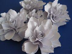 Handmade Bright White Paper Flowers - Set of 5. $11.00, via Etsy.