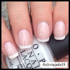 Polishes: OPI Alpine Snow, Manicare French Pink
