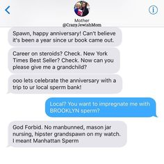 Thank you for clarifying! If you haven't read my book yet it's 58% off on Amazon RIGHT NOW and makes a great #MothersDay gift! You can grab a copy via link in @katefriedmansiegel's (my) bio! #crazyjewishmom #mothercanyounot #anniversary
