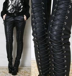 Chic Rock Runway Armor Corset Laceup Vegan Faux Leather Pleather Pants Men Women