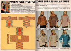 Variations multicolores sur les pulls tube.