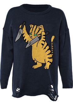 Iron-Fist Stabby-Cat-Torn - titus-shop.com #KnitSweatshirt #FemaleClothing #titus #titusskateshop