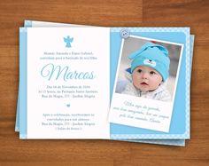 Convite de batizado diferente continue vendo bebe pinterest convite azul batizado com foto digital 10x15 cm altavistaventures Gallery