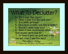 """What to declutter?"" Sign from Flylady"