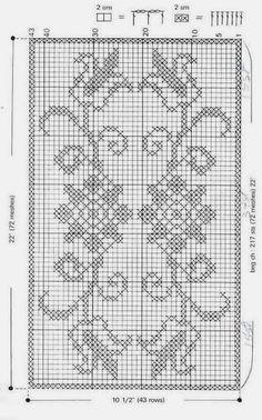 Kuvahaun tulos haulle pontos de croche para tapetes com grafico Filet Crochet Charts, Crochet Motifs, Crochet Diagram, Knitting Charts, Thread Crochet, Crochet Doilies, Crochet Stitches, Crochet Patterns, Cross Stitch Borders