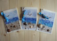 Set of 3 folded greeting cards of handmade paper theme by Diddit, €6.75