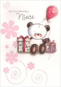 Happy birthday to a really special niece quality birthday card panda holding balloon for niece 1 card1 envelope freedom greetings niece birthday bookmarktalkfo Choice Image