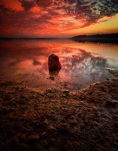 Winter sunset, Benbrook Lake, Texas