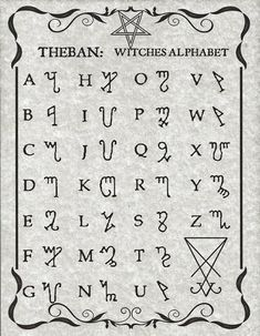 The Witches Alphabet known as Theban, presented here in Luciferian style on 8 x 11 parchment paper with sleeve.