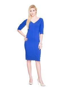 Sukienka z dekoltem SL2166BL www.fajne-sukienki.pl Dresses For Work, Fashion, Moda, Fashion Styles, Fashion Illustrations