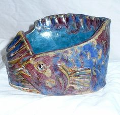 Hand Thrown Studio Pottery Fish Planter/Vase/Container/Bowl ~ Three Dimensional