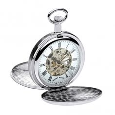 Mount Royal Skeleton Mechanical Double Hunter chrome plated pocket watch