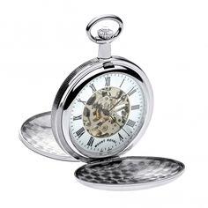Mount Royal Skeleton Mechanical Double Hunter chrome plated pocket watch