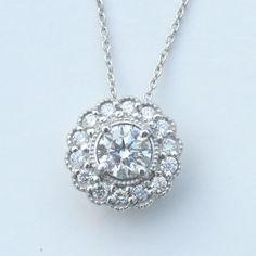 "1.35 ct I VS2 round diamond halo antique solitaire pendant 14k white gold 18"""
