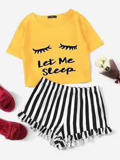 To find out about the Plus Graphic Print Tee & Striped Ruffle Shorts PJ Set at SHEIN, part of our latest Plus Size Pajama Sets ready to shop online today! Cute Pajama Sets, Cute Pajamas, Cute Lazy Outfits, Girl Outfits, Fashion Outfits, Emo Outfits, Fashion Clothes, Summer Outfits, Ruffle Shorts