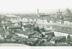 Florence and the River Arno  Italy  Black and by CarambasVintage