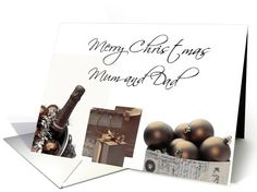 Mum & Dad Merry Christmas, sepia, black & white Winter collage card